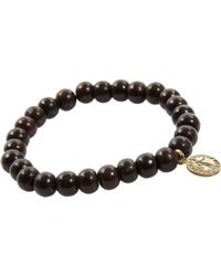 Devon Page Mccleary | Black Sandalwood Bead Bracelet with Diamond Angel Charm | Lyst
