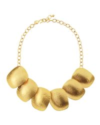 Kenneth Jay Lane | Metallic Golden Flat Disc Necklace | Lyst