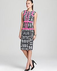 BCBGMAXAZRIA - White Printed Sleeveless Sheath Dress - Lyst