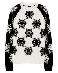 JOSEPH | White Snowflake Intarsia Wool Sweater | Lyst
