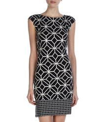 Donna Morgan | Black Geometricprint Shift Dress | Lyst