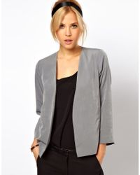 ASOS | Gray Cropped Soft Jacket | Lyst