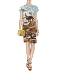 Carven - Multicolor Printed Silk-habotai Dress - Lyst