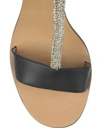 Chloé - Black Crystal-embellished Satin and Leather Sandals - Lyst