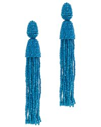 Oscar de la Renta | Blue Long Beaded Tassel Earring | Lyst