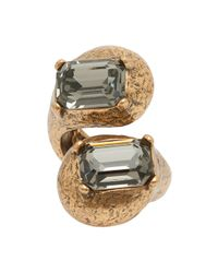 Oscar de la Renta - Metallic Double Swarovski Ring - Lyst