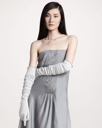 Brunello Cucinelli | Gray Long Metallic Gloves | Lyst