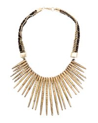 Mango | Metallic Embossed Spikes Necklace | Lyst