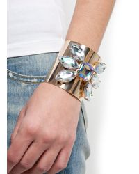 Mango - Metallic Touch Crystal Embellished Cuff - Lyst