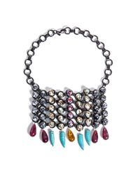 DANNIJO | Metallic Halsey Beaded Bib Necklace | Lyst