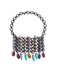 DANNIJO - Metallic Halsey Beaded Bib Necklace - Lyst