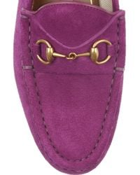 Gucci   Purple Horsebitdetailed Suede Loafers   Lyst