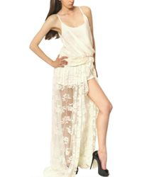 Jay Ahr | Natural Lace On Silk Muslin Jersey Long Dress | Lyst