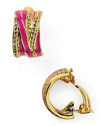 T Tahari - Metallic Half Hoop Clip Earrings - Lyst