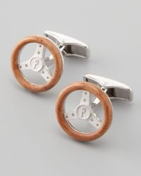 Dunhill Brown Wooden Steering Wheel Cuff Links for men