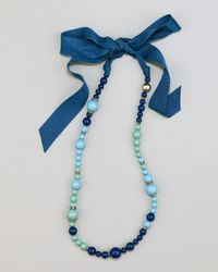 Lanvin | Blue Beaded Ribbon Necklace | Lyst