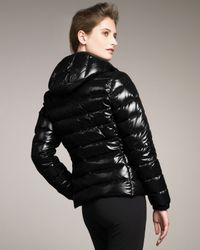 Moncler | Black Laque Hooded Puffer Jacket | Lyst