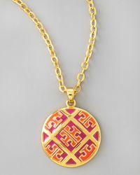 Tory Burch - Metallic Enamel Tpattern Pendant Necklace Orangepink - Lyst