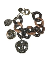 Saint Laurent - Brown African Mask Wooden Charm Bracelet - Lyst