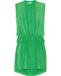 Chloé | Green Silk Crepe De Chine Dress | Lyst