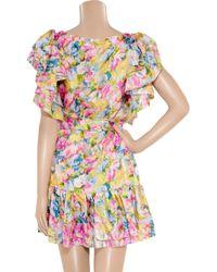 Collette by Collette Dinnigan   Multicolor Floral-print Silk-satin Dress   Lyst