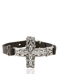 Emanuele Bicocchi | Metallic Silver Cross Leather Bracelet for Men | Lyst