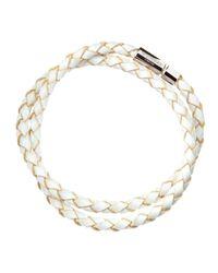 Tateossian - White Woven Leather Bracelet for Men - Lyst