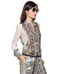 Roberto Cavalli - Multicolor Printed Silk Georgette Shirt - Lyst