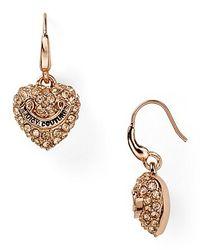Juicy Couture - Metallic Pavé Heart Drop Earrings - Lyst