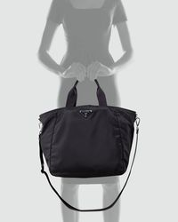 Prada | Black Vela Ziptop Tote | Lyst