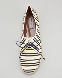 Tabitha Simmons - Black Espadrille Lace Up in Linen Silk Cricket Stripe - Lyst