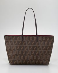 Fendi | Brown Tobacco Quilted Zucca Canvas Large Tote | Lyst