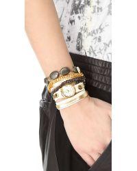 La Mer Collections - Metallic Kenyan Stones Wrap Watch - Lyst