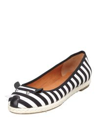Marc By Marc Jacobs Black Mouse Striped Espadrille Flat