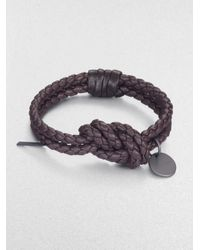 Bottega Veneta - Brown Intrecciato Leather Knot Bracelet - Lyst