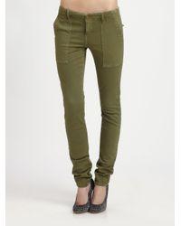 Current/Elliott - Green The Combat Skinny Mid-Rise Stretch-Denim Jeans - Lyst