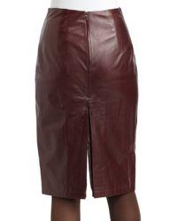 Elie Tahari | Red Julie Leather Pencil Skirt | Lyst