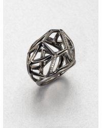 Ippolita | Metallic Diamond Blackened Sterling Silver Cage Pendant Ring | Lyst