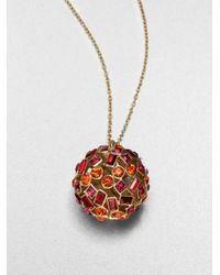 kate spade new york - Red Jeweled Sphere Necklace - Lyst