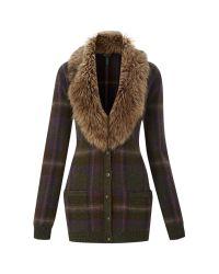 Lauren by Ralph Lauren | Green Kordelia Faux Fur Collar Cardigan, Multi | Lyst