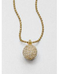Michael Kors | Metallic Pavé Ball Pendant Necklacegoldtone | Lyst