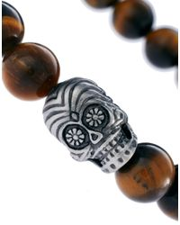 Simon Carter | Brown Skull Beaded Bracelet for Men | Lyst