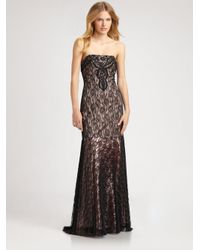 Sue Wong - Gray Beaded Lace Gown - Lyst