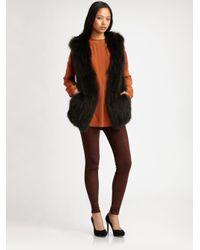 Vince - Black Fox Fur Vest - Lyst