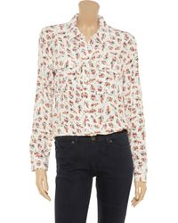 Equipment - Blue Slim Signature Floral Print Brushed Silk Shirt - Lyst