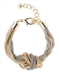 Jaeger - Metallic Knotted Snake Chain Bracelet - Lyst