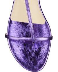 Jimmy Choo - Blue Vernie Flat Leather Lace-up Sandal - Lyst