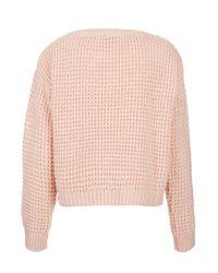 TOPSHOP - Pink Knitted Textured Crop Jumper - Lyst