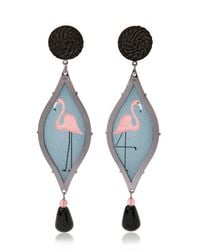 Anna E Alex - Black Seduzione Deco Silver Flamingo Earrings - Lyst