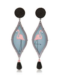 Anna E Alex | Black Seduzione Deco Silver Flamingo Earrings | Lyst